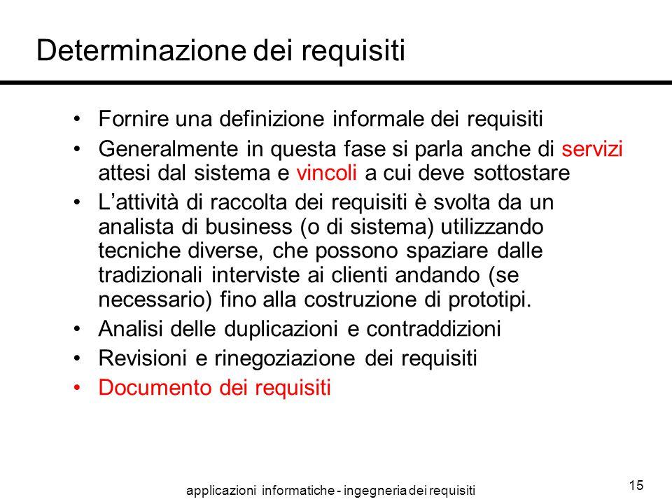 applicazioni informatiche - ingegneria dei requisiti 15 Determinazione dei requisiti Fornire una definizione informale dei requisiti Generalmente in q