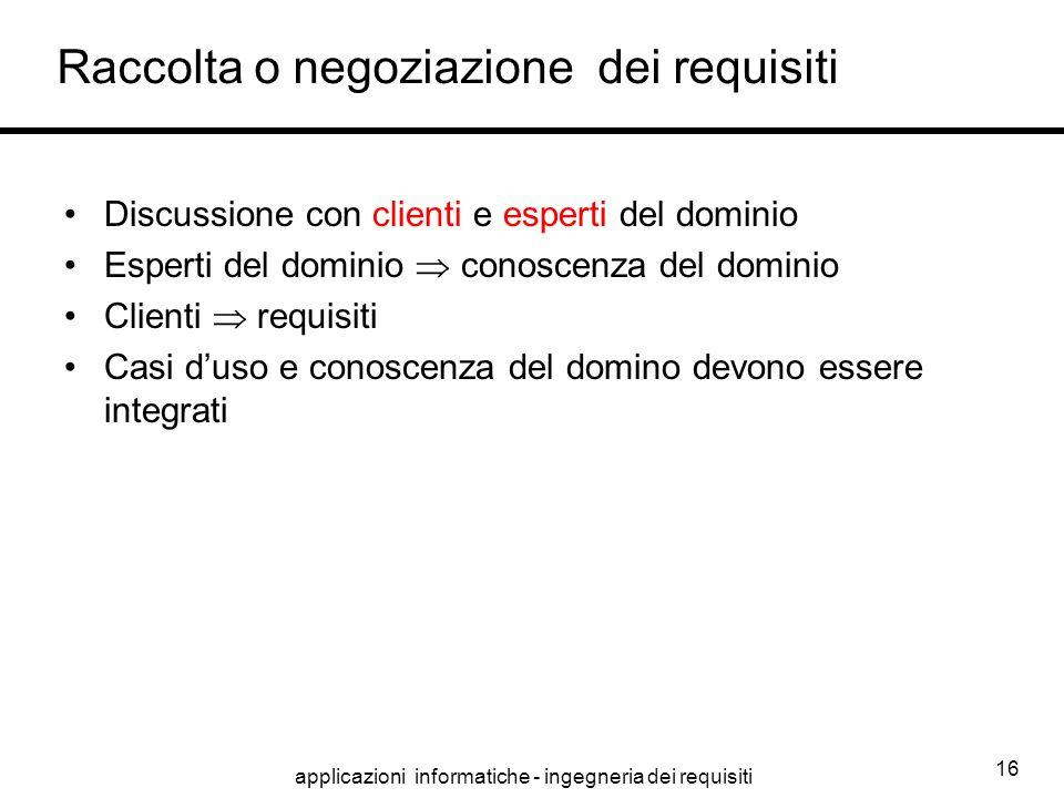 applicazioni informatiche - ingegneria dei requisiti 16 Raccolta o negoziazione dei requisiti Discussione con clienti e esperti del dominio Esperti de