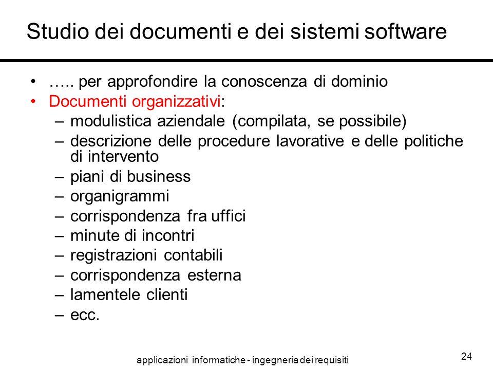 applicazioni informatiche - ingegneria dei requisiti 24 Studio dei documenti e dei sistemi software ….. per approfondire la conoscenza di dominio Docu