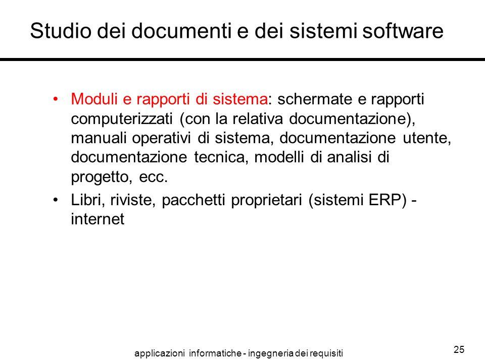 applicazioni informatiche - ingegneria dei requisiti 25 Studio dei documenti e dei sistemi software Moduli e rapporti di sistema: schermate e rapporti