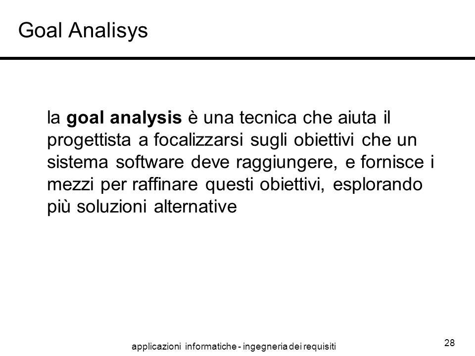 applicazioni informatiche - ingegneria dei requisiti 28 Goal Analisys la goal analysis è una tecnica che aiuta il progettista a focalizzarsi sugli obi