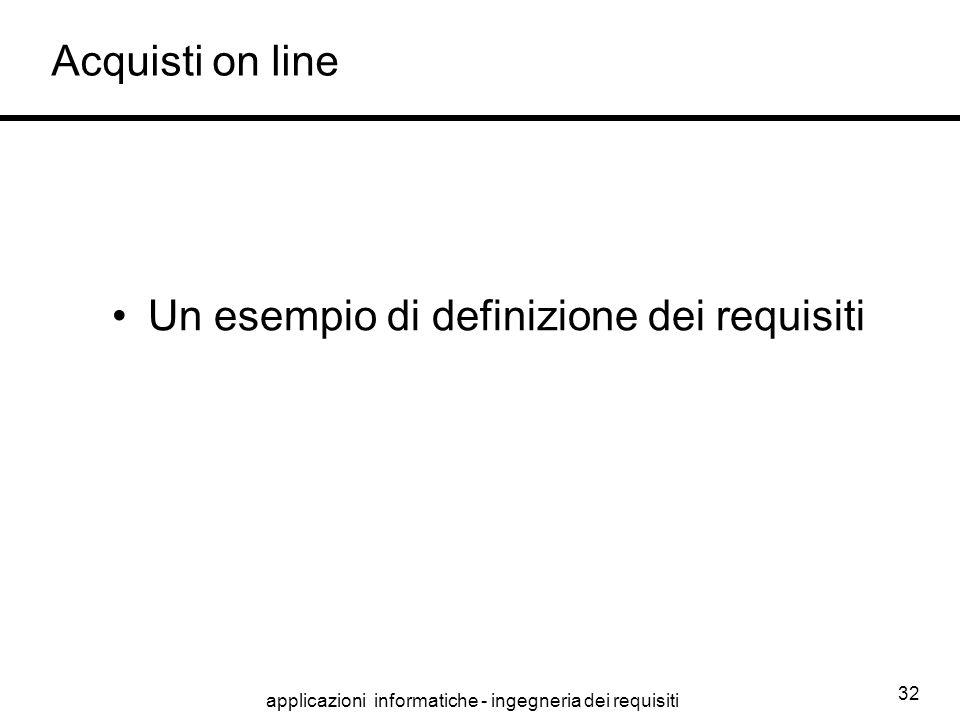 applicazioni informatiche - ingegneria dei requisiti 32 Acquisti on line Un esempio di definizione dei requisiti