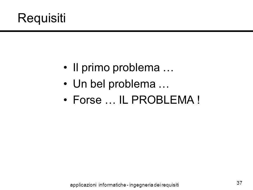 applicazioni informatiche - ingegneria dei requisiti 37 Requisiti Il primo problema … Un bel problema … Forse … IL PROBLEMA !