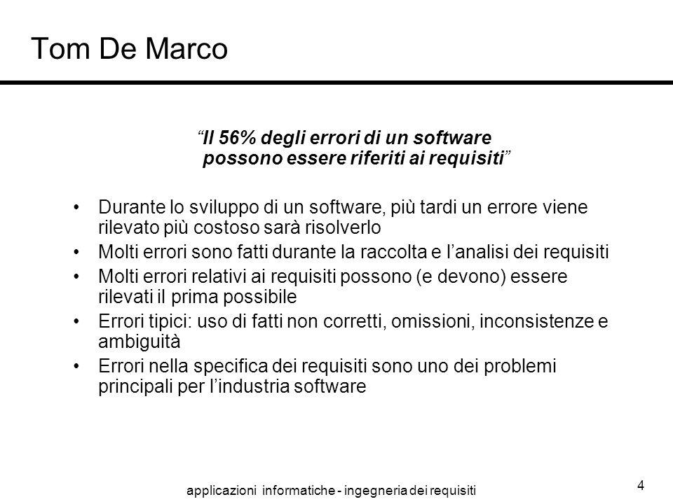 """applicazioni informatiche - ingegneria dei requisiti 4 Tom De Marco """"Il 56% degli errori di un software possono essere riferiti ai requisiti"""" Durante"""