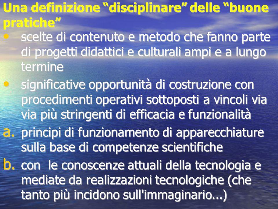 """Una definizione """"disciplinare"""" delle """"buone pratiche"""" scelte di contenuto e metodo che fanno parte di progetti didattici e culturali ampi e a lungo te"""