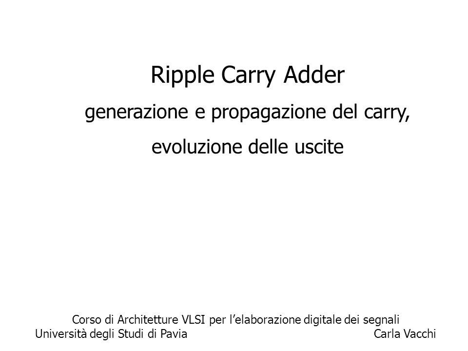 1 Ripple Carry Adder generazione e propagazione del carry, evoluzione delle uscite Corso di Architetture VLSI per l'elaborazione digitale dei segnali Università degli Studi di Pavia Carla Vacchi