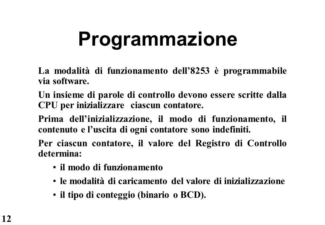 12 Programmazione La modalità di funzionamento dell'8253 è programmabile via software. Un insieme di parole di controllo devono essere scritte dalla C