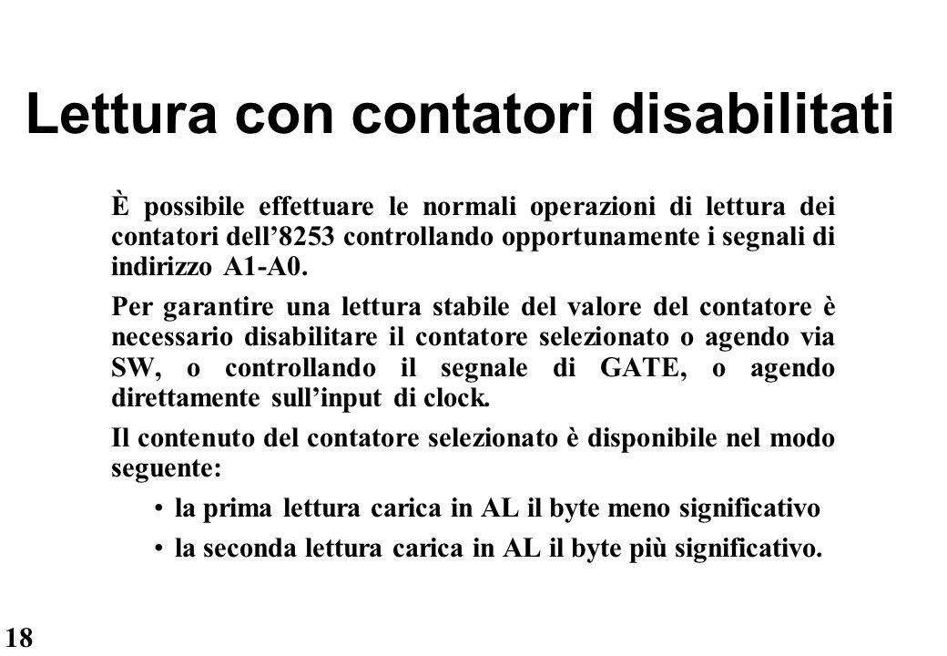 18 Lettura con contatori disabilitati È possibile effettuare le normali operazioni di lettura dei contatori dell'8253 controllando opportunamente i se