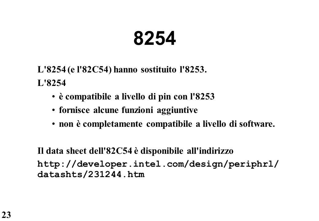 23 8254 L'8254 (e l'82C54) hanno sostituito l'8253. L'8254 è compatibile a livello di pin con l'8253 fornisce alcune funzioni aggiuntive non è complet