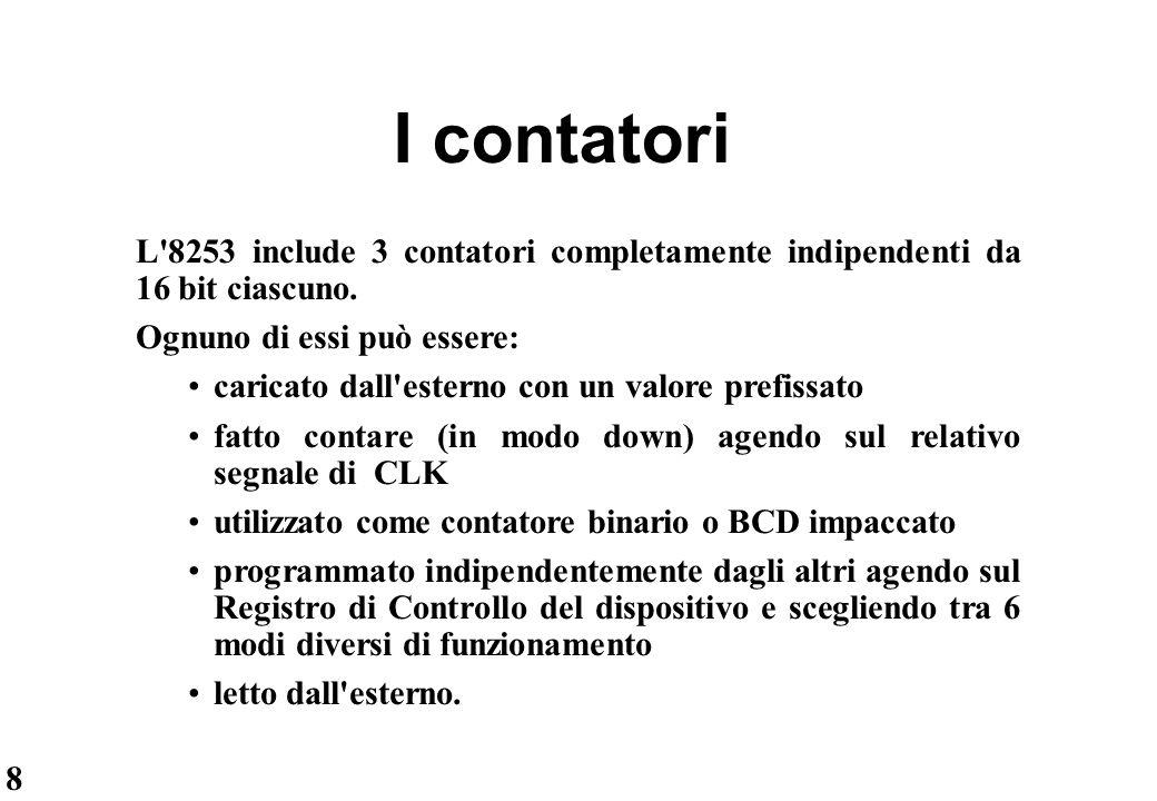 19 Lettura con contatori disabilitati (II) L organizzazione interna dell'8253 impone assolutamente che l'intera procedura di lettura sia completata prima di procedere a nuove operazioni.