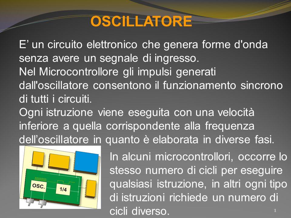 OSCILLATORE E' un circuito elettronico che genera forme d onda senza avere un segnale di ingresso.