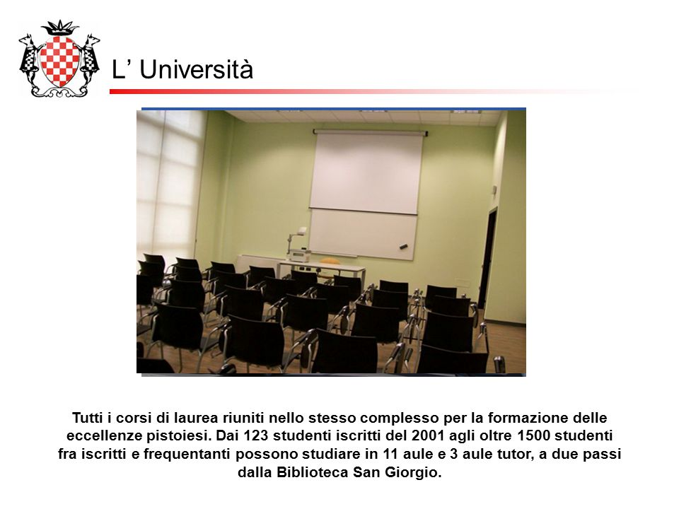 L' Università Tutti i corsi di laurea riuniti nello stesso complesso per la formazione delle eccellenze pistoiesi. Dai 123 studenti iscritti del 2001