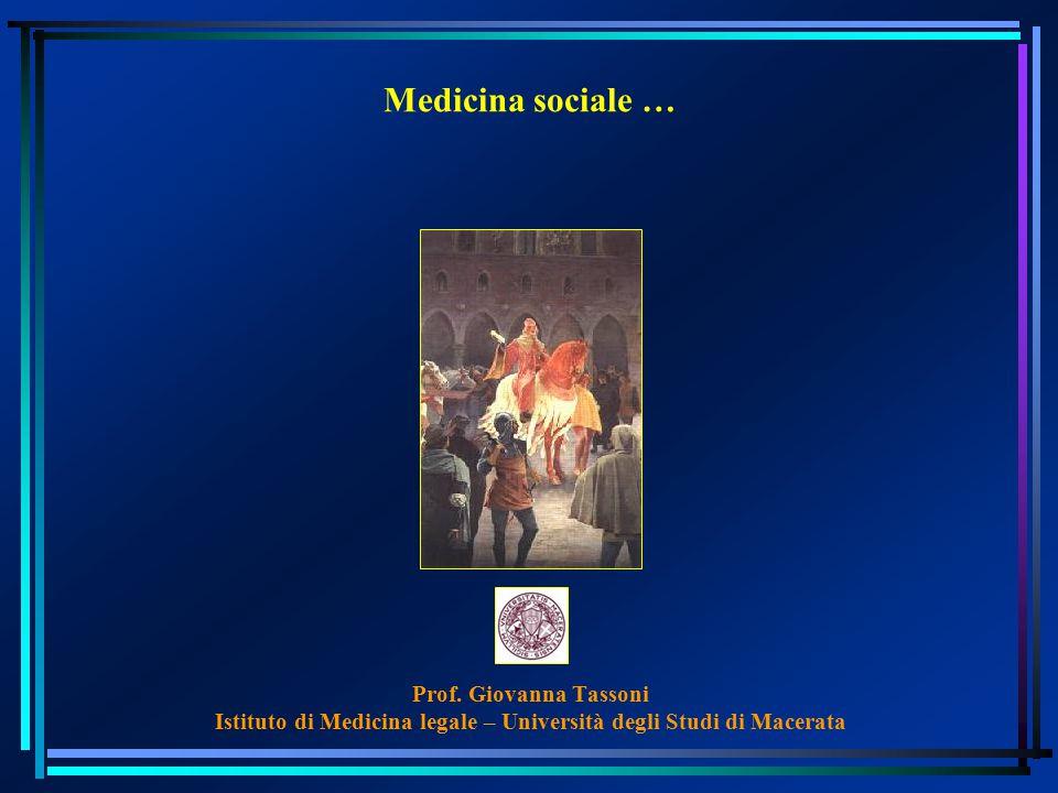 Medicina sociale … Prof. Giovanna Tassoni Istituto di Medicina legale – Università degli Studi di Macerata