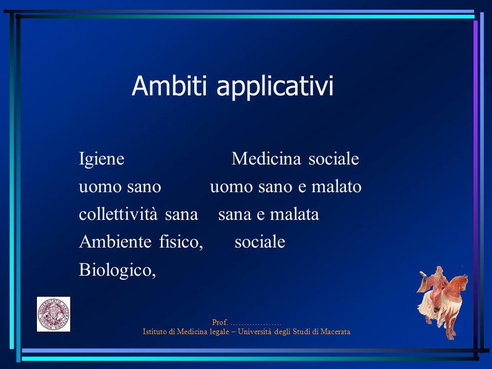 Prof. ………………. Istituto di Medicina legale – Università degli Studi di Macerata Ambiti applicativi Igiene Medicina sociale uomo sano uomo sano e malato