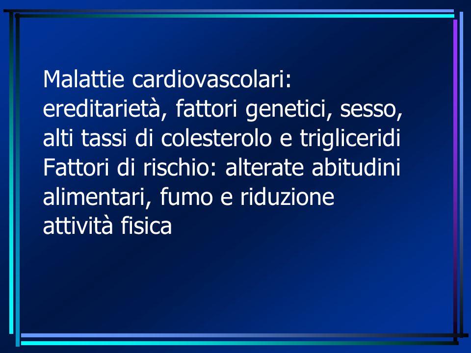 Malattie cardiovascolari: ereditarietà, fattori genetici, sesso, alti tassi di colesterolo e trigliceridi Fattori di rischio: alterate abitudini alime