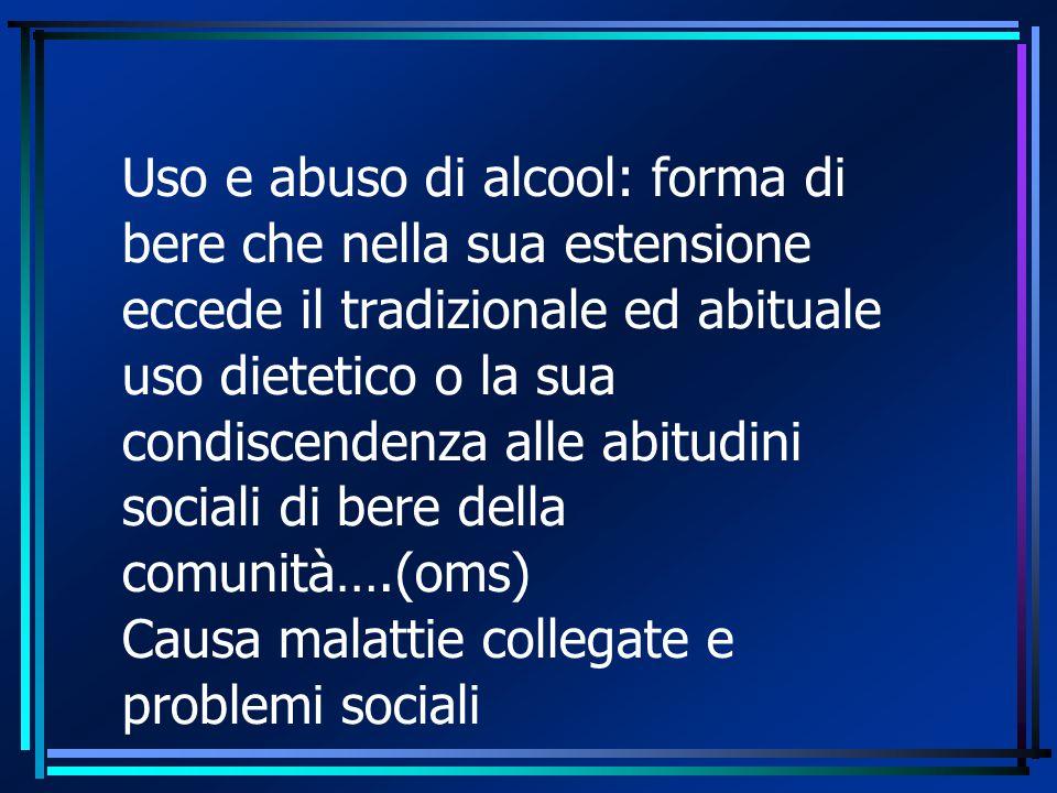 Uso e abuso di alcool: forma di bere che nella sua estensione eccede il tradizionale ed abituale uso dietetico o la sua condiscendenza alle abitudini