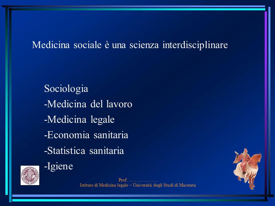 Prof. ………………. Istituto di Medicina legale – Università degli Studi di Macerata Medicina sociale è una scienza interdisciplinare Sociologia -Medicina d