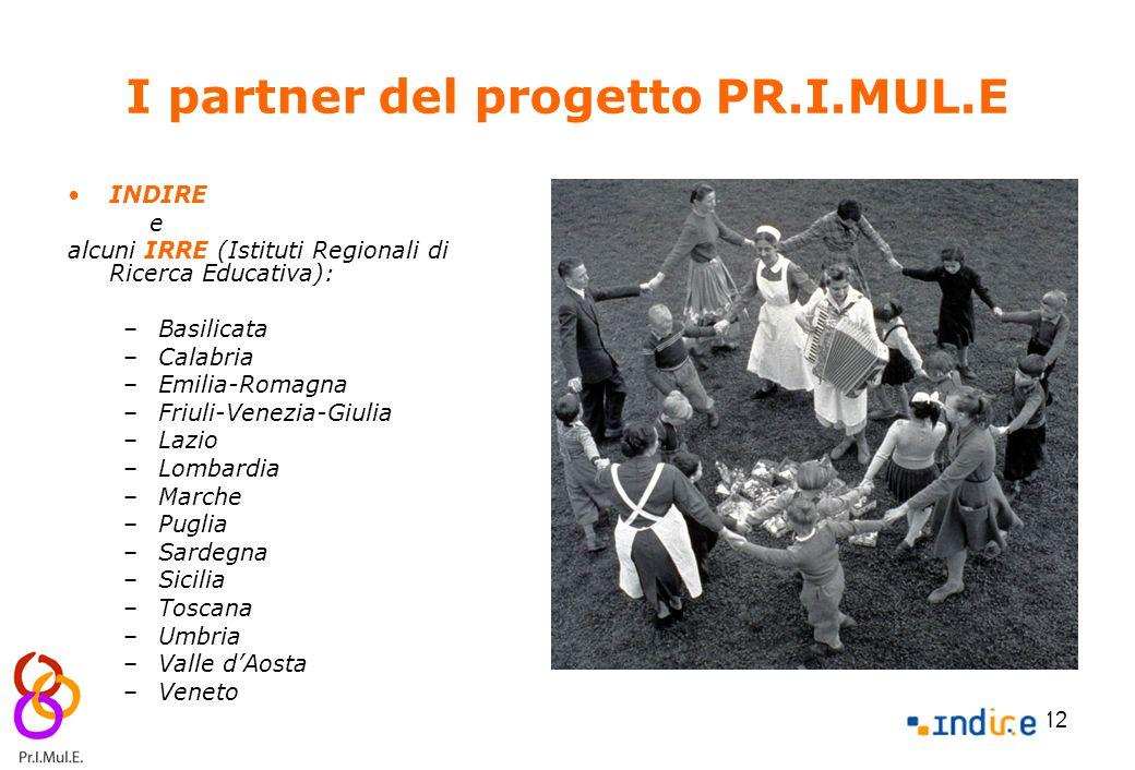 12 I partner del progetto PR.I.MUL.E INDIRE e alcuni IRRE (Istituti Regionali di Ricerca Educativa): –Basilicata –Calabria –Emilia-Romagna –Friuli-Ven