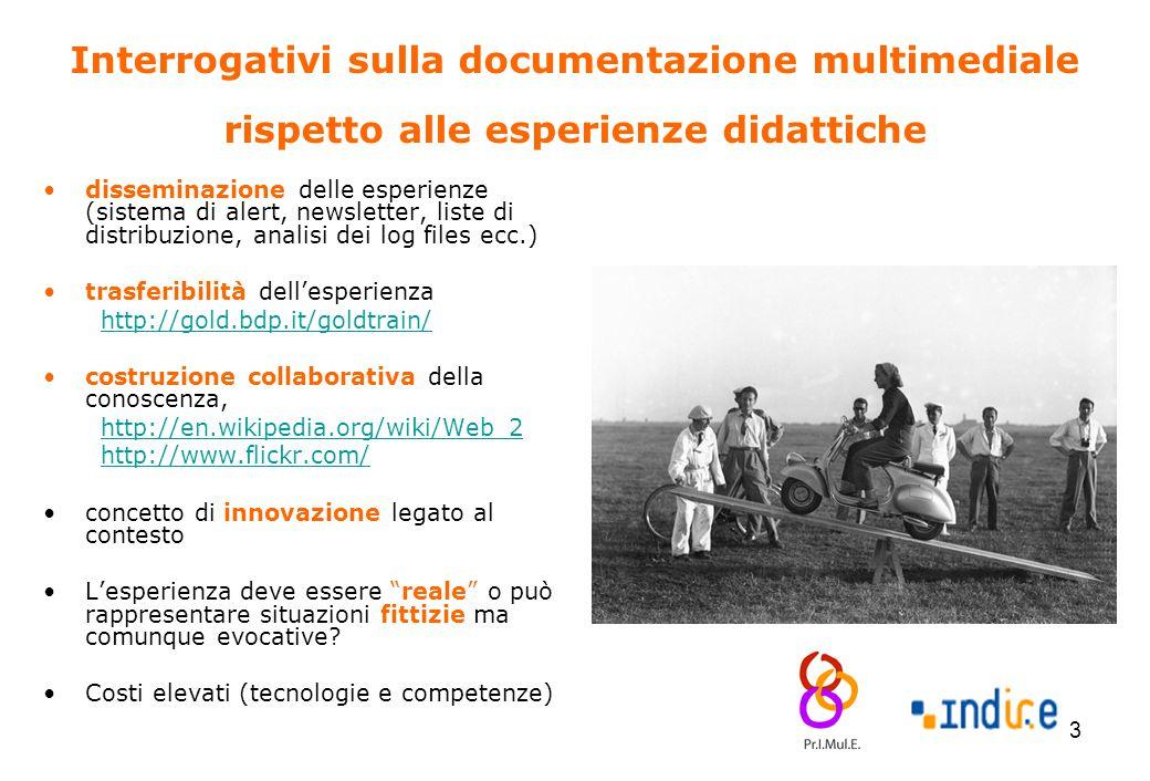 13 Interrogativi sulla documentazione multimediale rispetto alle esperienze didattiche disseminazione delle esperienze (sistema di alert, newsletter,