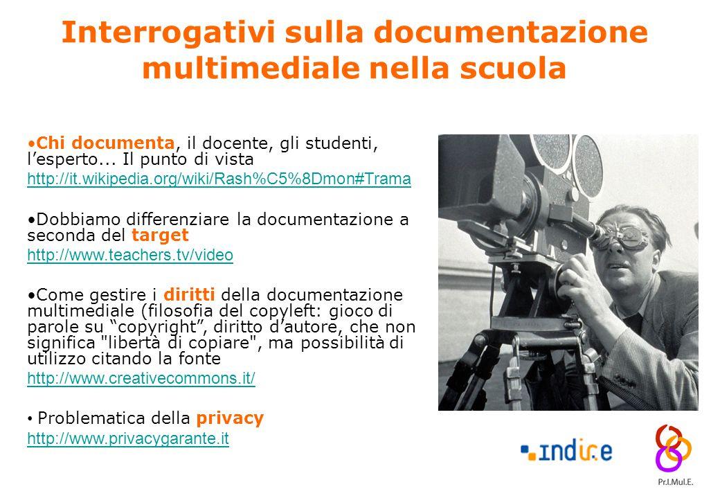 14 Interrogativi sulla documentazione multimediale nella scuola Chi documenta, il docente, gli studenti, l'esperto... Il punto di vista http://it.wiki