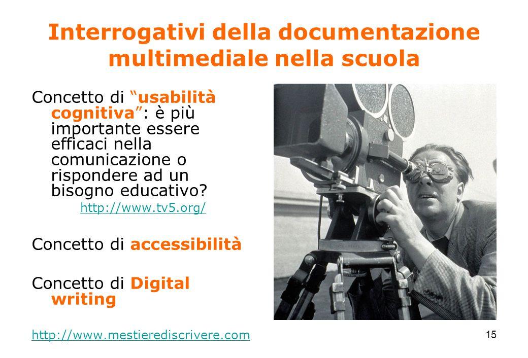 15 Interrogativi della documentazione multimediale nella scuola Concetto di usabilità cognitiva : è più importante essere efficaci nella comunicazione o rispondere ad un bisogno educativo.