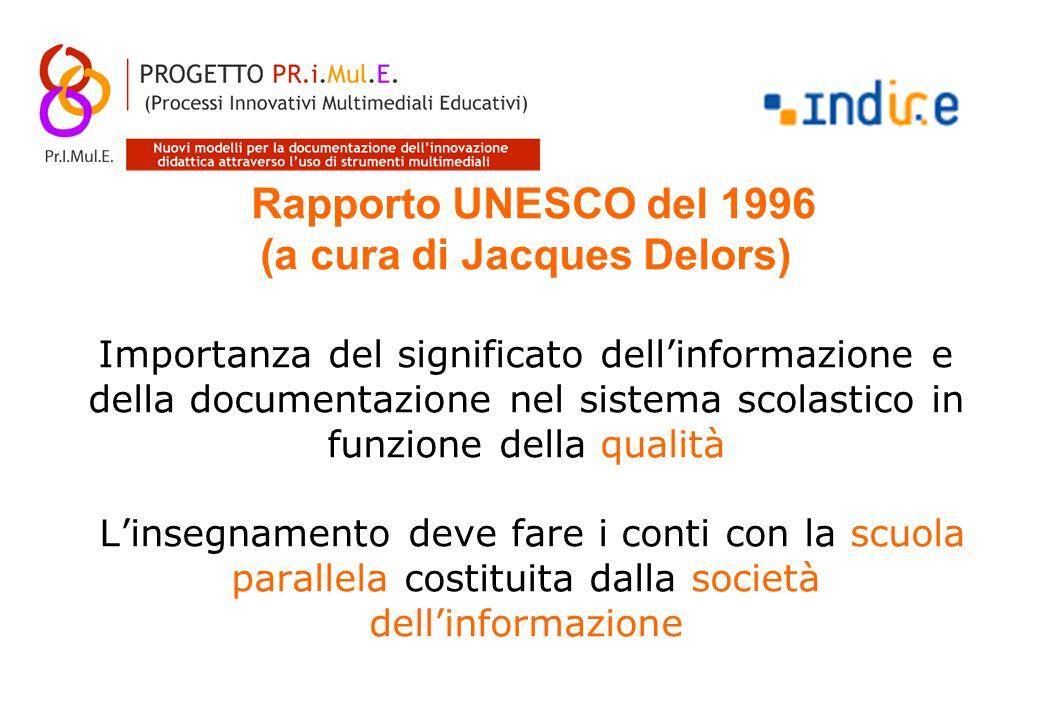 Rapporto UNESCO del 1996 (a cura di Jacques Delors) Importanza del significato dell'informazione e della documentazione nel sistema scolastico in funzione della qualità L'insegnamento deve fare i conti con la scuola parallela costituita dalla società dell'informazione