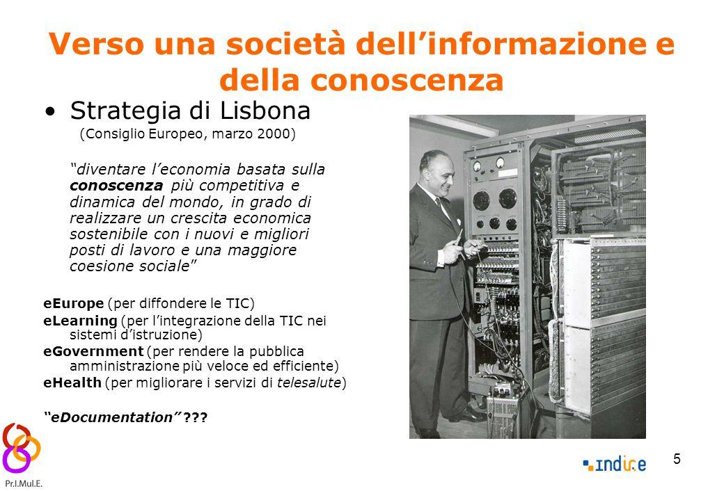5 Verso una società dell'informazione e della conoscenza Strategia di Lisbona (Consiglio Europeo, marzo 2000) diventare l'economia basata sulla conoscenza più competitiva e dinamica del mondo, in grado di realizzare un crescita economica sostenibile con i nuovi e migliori posti di lavoro e una maggiore coesione sociale eEurope (per diffondere le TIC) eLearning (per l'integrazione della TIC nei sistemi d'istruzione) eGovernment (per rendere la pubblica amministrazione più veloce ed efficiente) eHealth (per migliorare i servizi di telesalute) eDocumentation