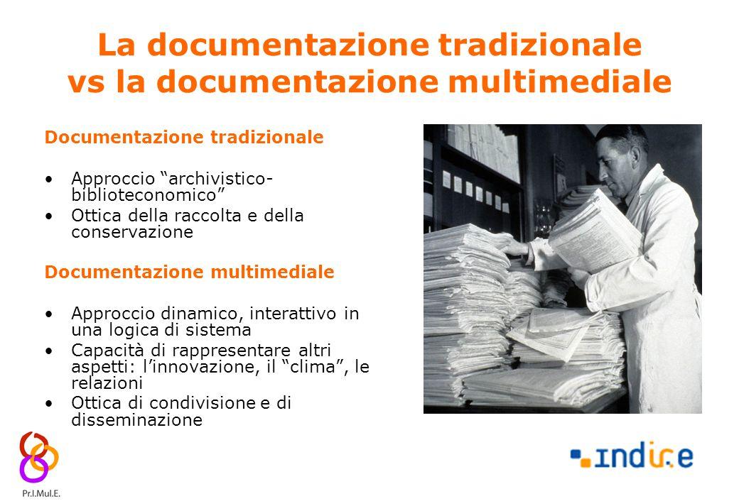 6 La documentazione tradizionale vs la documentazione multimediale Documentazione tradizionale Approccio archivistico- biblioteconomico Ottica della raccolta e della conservazione Documentazione multimediale Approccio dinamico, interattivo in una logica di sistema Capacità di rappresentare altri aspetti: l'innovazione, il clima , le relazioni Ottica di condivisione e di disseminazione