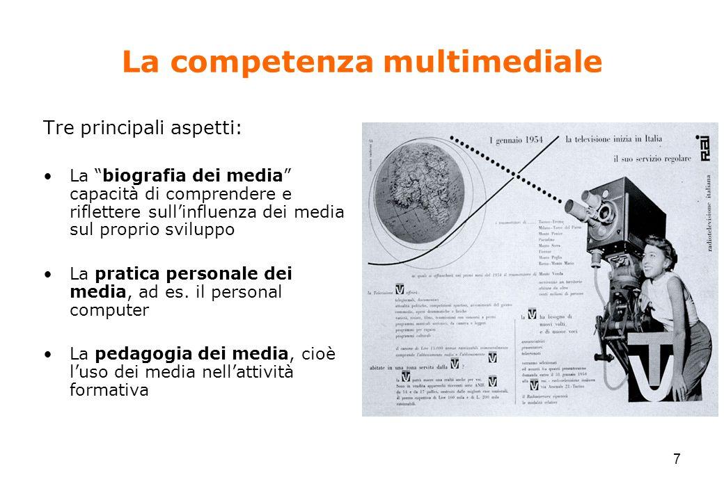 """7 La competenza multimediale Tre principali aspetti: La """"biografia dei media"""" capacità di comprendere e riflettere sull'influenza dei media sul propri"""