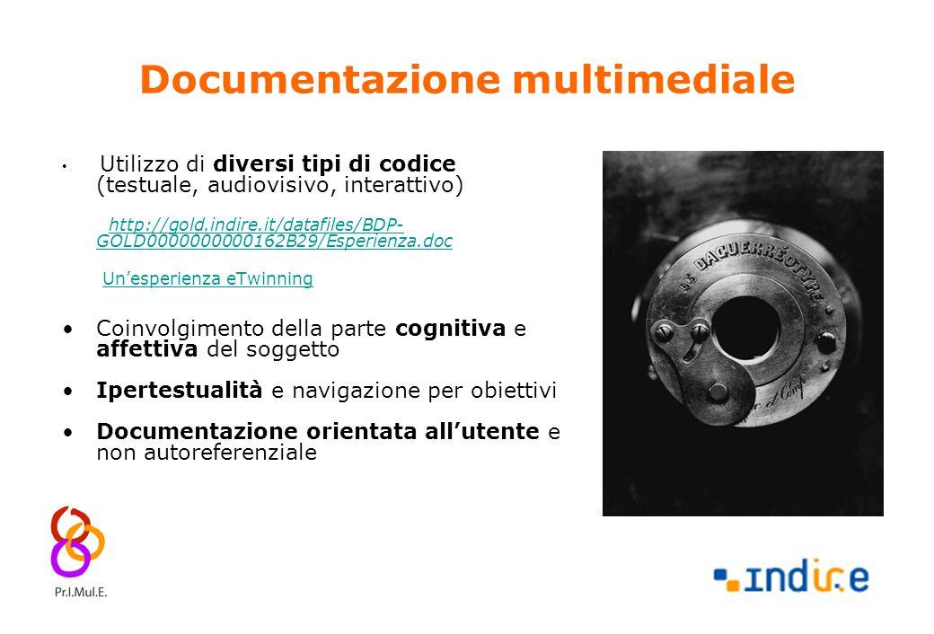 8 Documentazione multimediale Utilizzo di diversi tipi di codice (testuale, audiovisivo, interattivo) http://gold.indire.it/datafiles/BDP- GOLD0000000