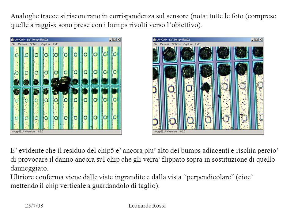 25/7/03Leonardo Rossi Analoghe tracce si riscontrano in corrispondenza sul sensore (nota: tutte le foto (comprese quelle a raggi-x sono prese con i bumps rivolti verso l'obiettivo).