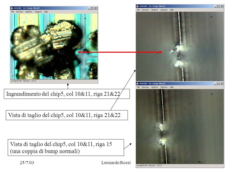 25/7/03Leonardo Rossi Ingrandimento del chip5, col 10&11, riga 21&22 Vista di taglio del chip5, col 10&11, riga 21&22 Vista di taglio del chip5, col 10&11, riga 15 (una coppia di bump normali)