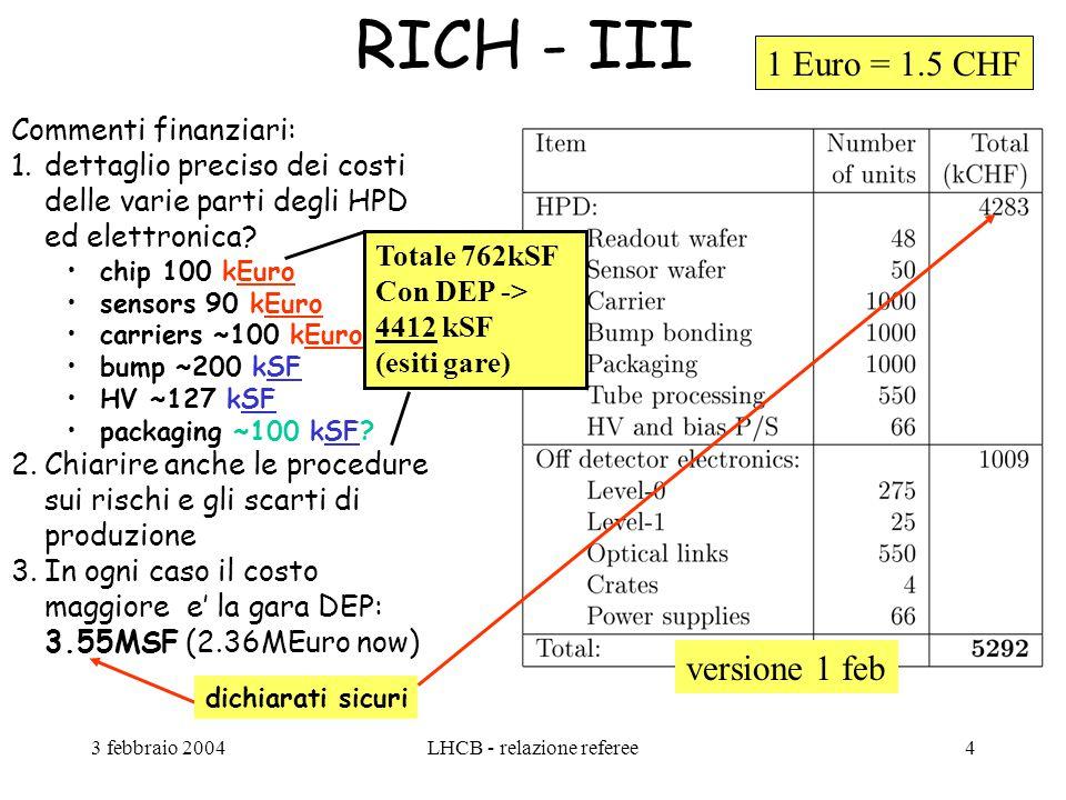 3 febbraio 2004LHCB - relazione referee4 RICH - III Commenti finanziari: 1.dettaglio preciso dei costi delle varie parti degli HPD ed elettronica.