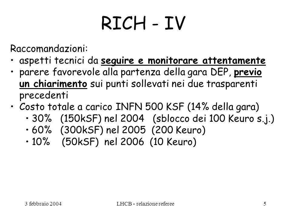 3 febbraio 2004LHCB - relazione referee5 RICH - IV Raccomandazioni: aspetti tecnici da seguire e monitorare attentamente parere favorevole alla partenza della gara DEP, previo un chiarimento sui punti sollevati nei due trasparenti precedenti Costo totale a carico INFN 500 KSF (14% della gara) 30% (150kSF) nel 2004 (sblocco dei 100 Keuro s.j.) 60% (300kSF) nel 2005 (200 Keuro) 10% (50kSF) nel 2006 (10 Keuro)