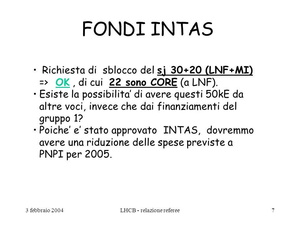 3 febbraio 2004LHCB - relazione referee7 FONDI INTAS Richiesta di sblocco del sj 30+20 (LNF+MI) => OK, di cui 22 sono CORE (a LNF). Esiste la possibil