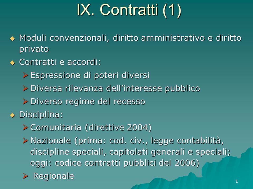 1 IX. Contratti (1)  Moduli convenzionali, diritto amministrativo e diritto privato  Contratti e accordi:  Espressione di poteri diversi  Diversa