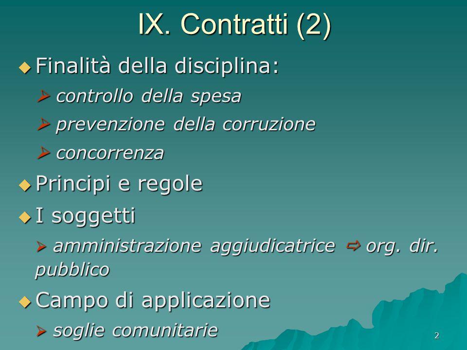 2 IX. Contratti (2)  Finalità della disciplina:  controllo della spesa  prevenzione della corruzione  concorrenza  Principi e regole  I soggetti