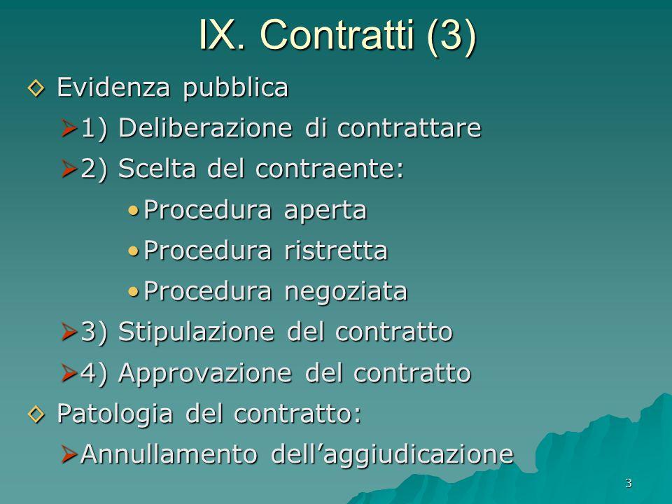 3 IX. Contratti (3) ◊ Evidenza pubblica  1) Deliberazione di contrattare  2) Scelta del contraente: Procedura aperta Procedura ristretta Procedura n
