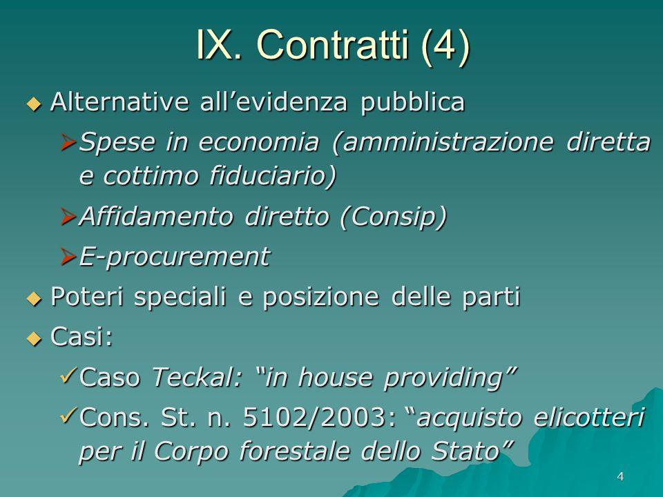 4 IX. Contratti (4)  Alternative all'evidenza pubblica  Spese in economia (amministrazione diretta e cottimo fiduciario)  Affidamento diretto (Cons