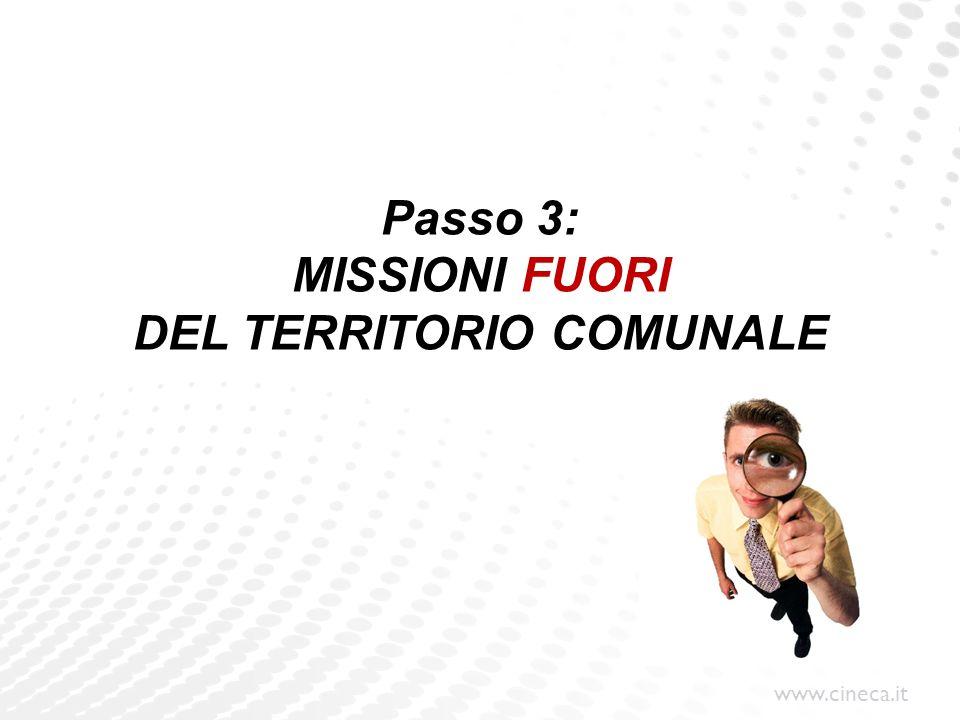 www.cineca.it Passo 3: MISSIONI FUORI DEL TERRITORIO COMUNALE