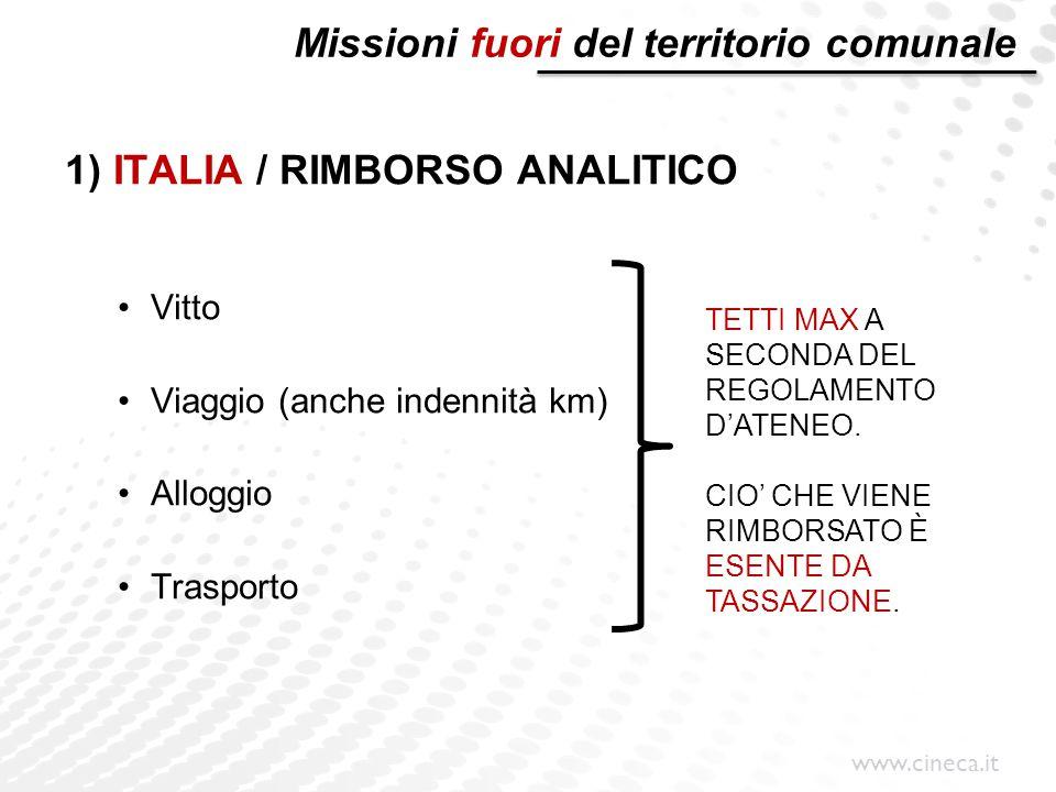 www.cineca.it Missioni fuori del territorio comunale 1) ITALIA / RIMBORSO ANALITICO Vitto Viaggio (anche indennità km) Alloggio Trasporto TETTI MAX A