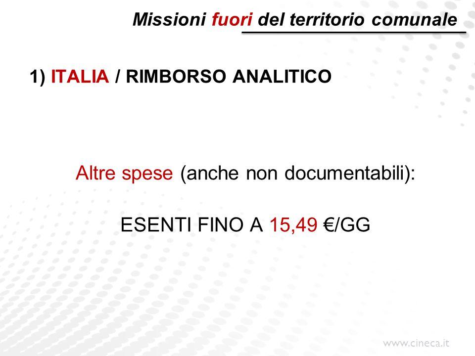 www.cineca.it Missioni fuori del territorio comunale 1) ITALIA / RIMBORSO ANALITICO Altre spese (anche non documentabili): ESENTI FINO A 15,49 €/GG