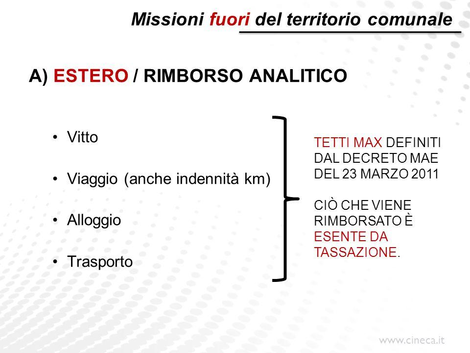 www.cineca.it Missioni fuori del territorio comunale A) ESTERO / RIMBORSO ANALITICO Vitto Viaggio (anche indennità km) Alloggio Trasporto TETTI MAX DE