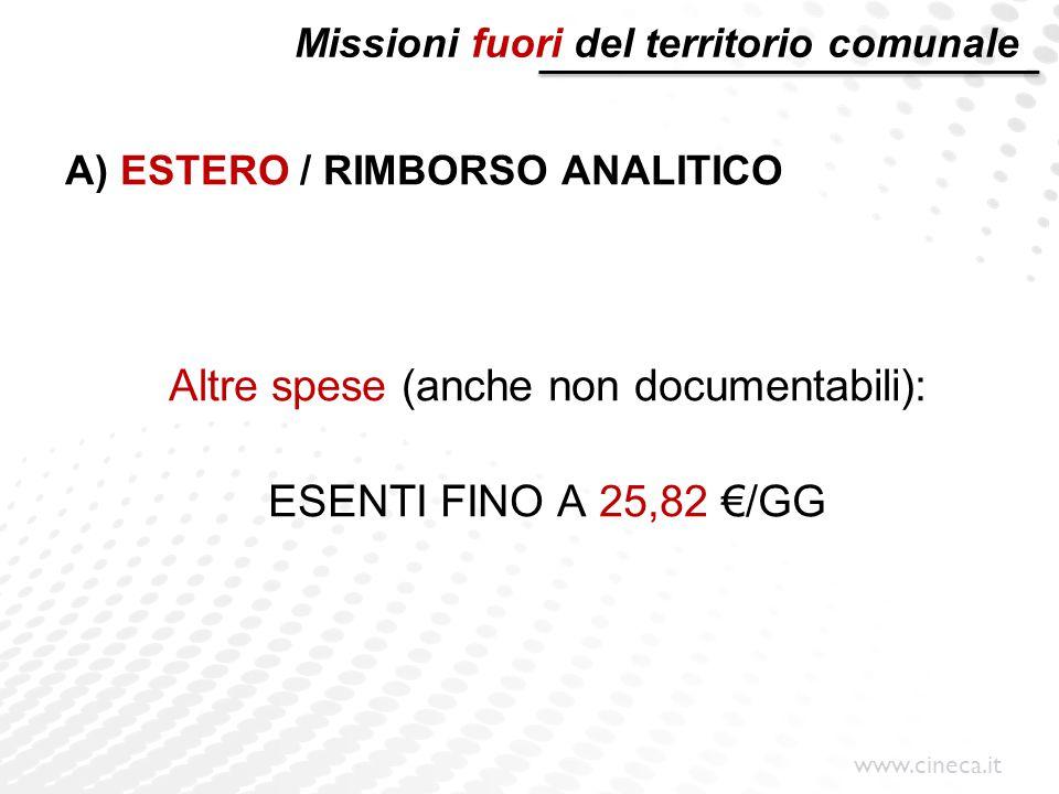 www.cineca.it Missioni fuori del territorio comunale A) ESTERO / RIMBORSO ANALITICO Altre spese (anche non documentabili): ESENTI FINO A 25,82 €/GG