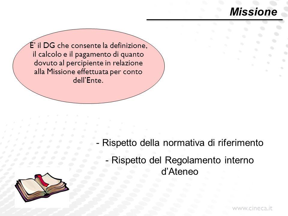 www.cineca.it E' il DG che consente la definizione, il calcolo e il pagamento di quanto dovuto al percipiente in relazione alla Missione effettuata pe