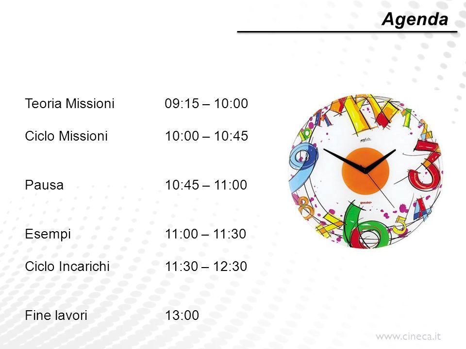 www.cineca.it Teoria Missioni09:15 – 10:00 Ciclo Missioni10:00 – 10:45 Pausa10:45 – 11:00 Esempi11:00 – 11:30 Ciclo Incarichi11:30 – 12:30 Fine lavori
