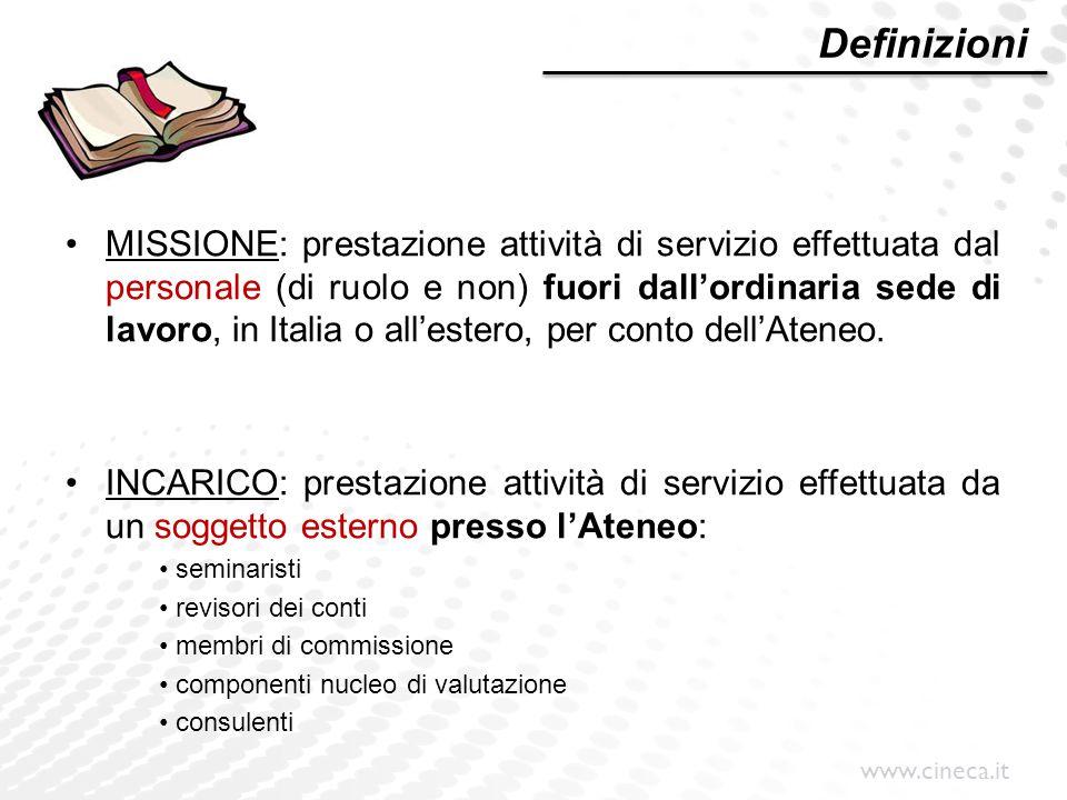 www.cineca.it U-GOV Missioni Il modulo Missioni va utilizzato SOLO per rimborsi spese a: Dipendenti dell'Ente Redditi assimilati a lavoro dipendente (CC, BS, PE) Redditi esenti (BE, DR, AR, SP)