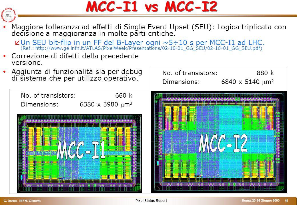 Pixel Status Report G.Darbo - INFN / Genova Roma, 23-24 Giugno 2003 6 MCC-I1 vs MCC-I2 No.