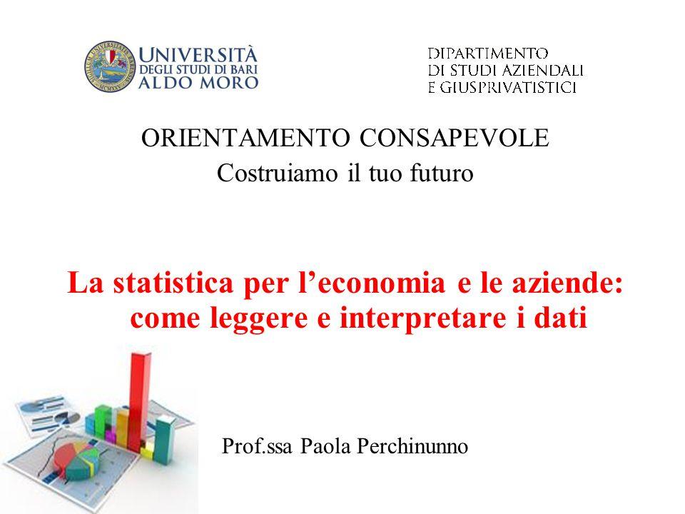 ORIENTAMENTO CONSAPEVOLE Costruiamo il tuo futuro La statistica per l'economia e le aziende: come leggere e interpretare i dati Prof.ssa Paola Perchin