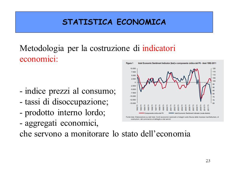 Metodologia per la costruzione di indicatori economici: - indice prezzi al consumo; - tassi di disoccupazione; - prodotto interno lordo; - aggregati e